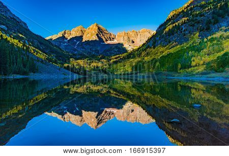 Maroon Bells on a Fall Sunrise Aspen Colorado