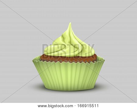 Delicious cupcake with green cream in a green bowl.Vector image of 3D simulation