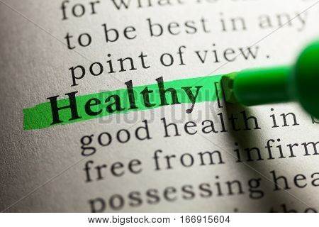 Fake Dictionary definition of the word healthy.