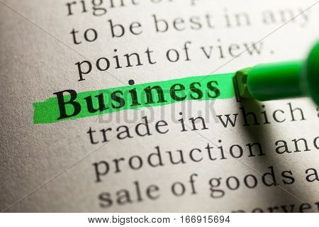 Fake Dictionary definition of the word business.