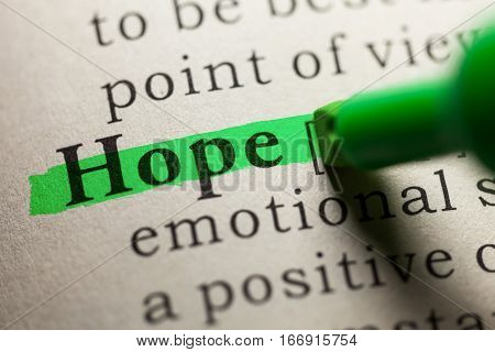 Fake Dictionary definition of the word hope.