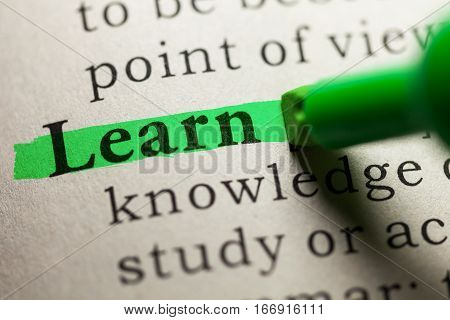Fake Dictionary definition of the word learn.