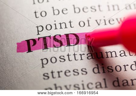 Fake Dictionary definition of the word PTSD.