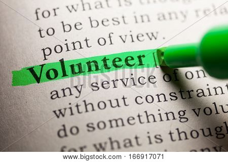 Fake Dictionary definition of the word Volunteer.