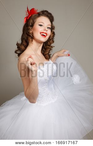 Pin-up bride .Professional make-up hair and style