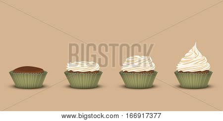Set of 4 cupcakes in one line in tins. Starting without the cream and ending with ascending three-tier cream. Brown background. 3D simulation