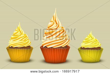 The set of three prize-winning cupcakes with a different number of colored sweet cream. Simulation 3D