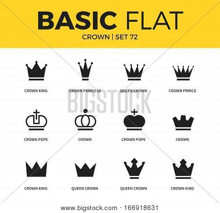 Basic set of crown pope form, crown king form and crown princess form icons. Modern flat pictogram collection. Vector material design concept, web symbols and logo concept.