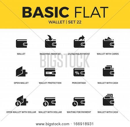 Basic set of incoming payment, open wallet and wallet with dollar icons. Modern flat pictogram collection. Vector material design concept, web symbols and logo concept.