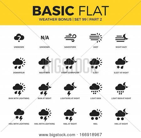 Basic set of light rain, night downpour and rain with lightning icons. Modern flat pictogram collection. Vector material design concept, web symbols and logo concept.