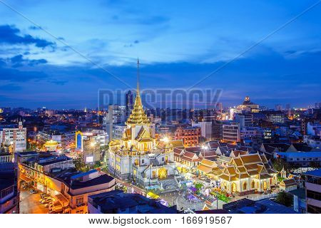 Top view cityscape Wat Trimitr in chinatown or yaowarat area in bangkok city Bangkok Thailand