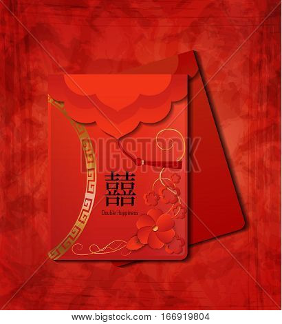 two Red Envelopes The Chinese word on the envelope means Double Happiness Vector