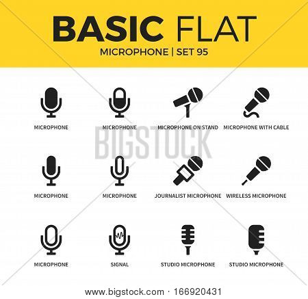 Basic set of Microphone on stand, wireless microphone and studio microphone icons. Modern flat pictogram collection. Vector material design concept, web symbols and logo concept.
