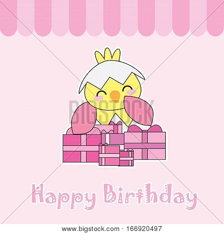 Birthday card with cute chick and birthday gifts suitable for birthday invitation card, greeting card, and postcard
