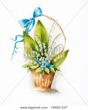 Water color drawing of a bouquet of lily of the valley flowers in a small basket