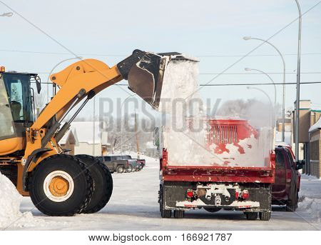 A loader dumping a bucket of snow onto the box of flatbed truck on a main street of small town in winter
