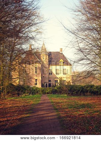Ancient medieval stone fortress, autumn look through the valley, castle Vorden, Netherlands, Europe