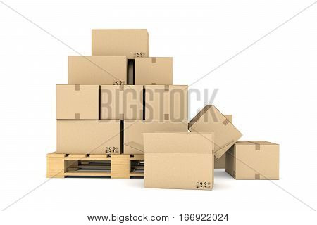 3d rendering of several carton boxes stacked evenly on a double-decked pallet on white background. Packaging and delivery. Cargo services. Loading goods.