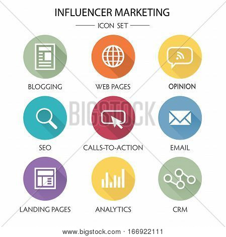 Influencer Marketing Icon Set with Social Media CRM Analytics etc poster