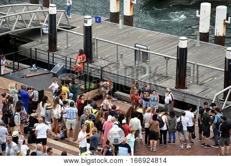 Sydney Australia - January 26 2017. People watching indigenous aboriginal people's performance at Circular Quay on Australia Day.