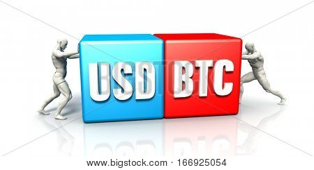 USD BTC Currency Pair Fighting in Blue Red and White Background 3D Illustration Render