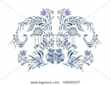 Silver  Floral Ornament Isolated