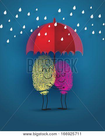 concept of love with fingerprint under raining