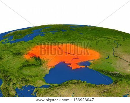 Ukraine In Red From Orbit