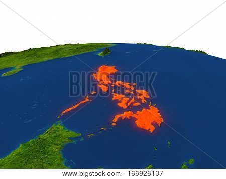 Philippines In Red From Orbit