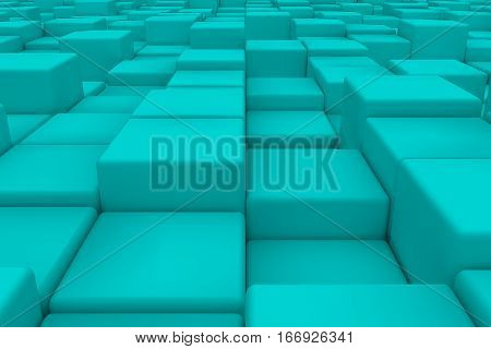 Diagonal Surface Made Of Cyan Cubes