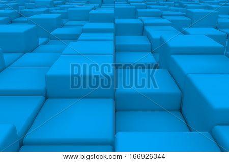 Diagonal Surface Made Of Light Blue Cubes