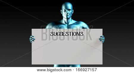 Suggestions with a Man Carrying Reminder Sign 3D Illustration Render
