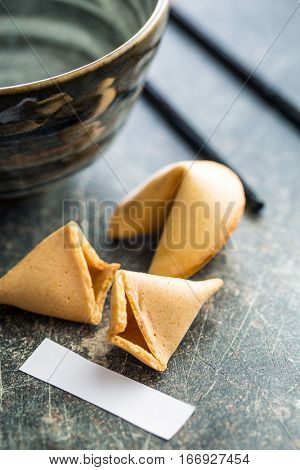 The fortune cookies on old table.
