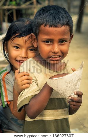 Boys With Paper In Nepal