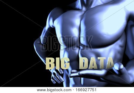 Big data With a Business Man Holding Up as Concept 3D Illustration Render