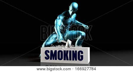 Get Rid of Smoking and Remove the Problem 3D Illustration Render