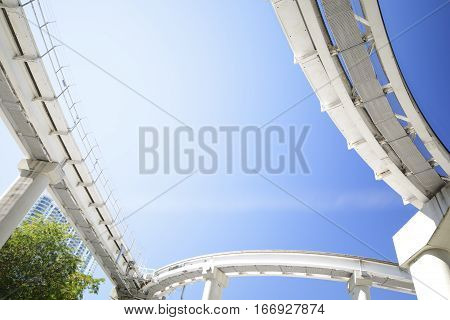 Stock photo under tram tracks in the city