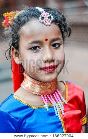Girl With Red Lips In Nepal