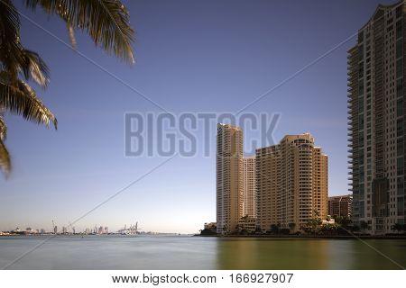 Brickell Key and Port Miami Florida USA