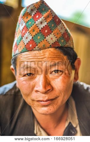 Man With Cap In Nepal