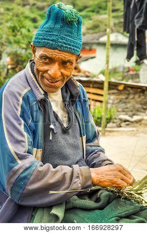 Working Man In Beni In Nepal