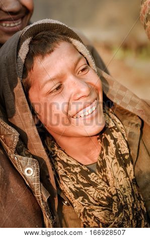Smiling Boy In Hood In Nepal