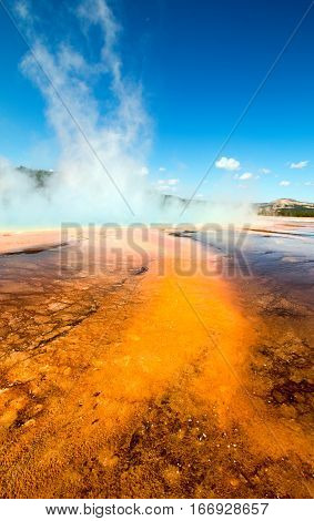 Grand Prismatic Spring in the Midway Geyser Basin in Yellowstone National Park USA