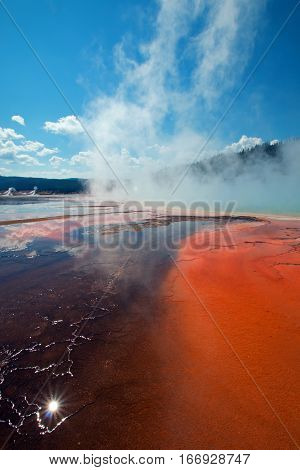 Grand Prismatic Spring in the Midway Geyser Basin in Yellowstone National Park