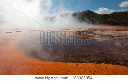 Grand Prismatic Spring in the Midway Geyser Basin in Yellowstone National Park in Wyoming USA