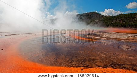 The Grand Prismatic Spring in the Midway Geyser Basin in Yellowstone National Park in Wyoming U S
