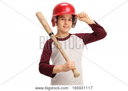 Kid with a baseball bat and a helmet isolated on white background