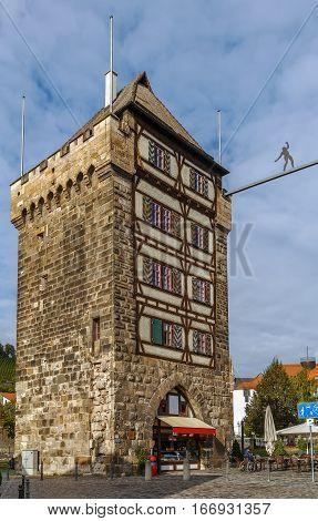 Schelztorturm tower was built in 1228 as part of the city fortifications Esslingen am Neckar Germany