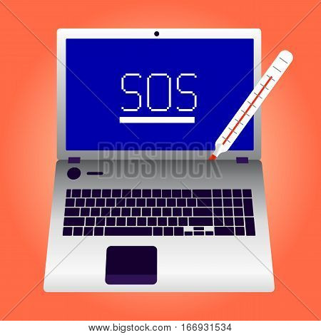 Broken laptop SOS screen vector illustration EPS10