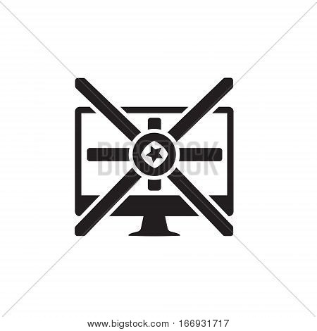 Vector icon or illustration showing internet marketing and advertising with star in one balck color
